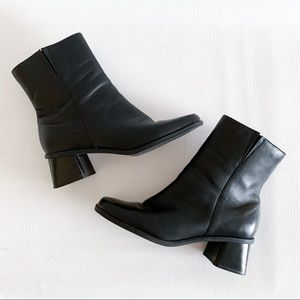 90s Naturalizer Black Leather Square Toe Boots